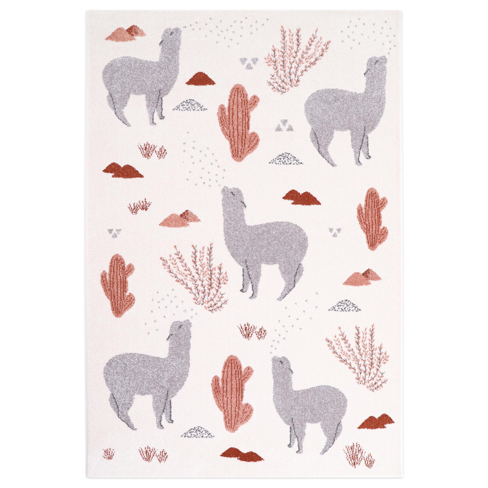 Tapis enfant petits lamas roses ANDINA by MPA Ø135