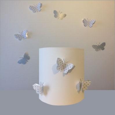 Abat Jour Ou Suspension Papillon 3d Blanc Etoile Et Argent Personnalisable