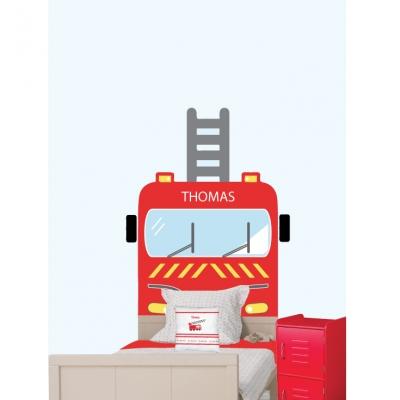 sticker t te de lit camion de pompier personnalisable. Black Bedroom Furniture Sets. Home Design Ideas