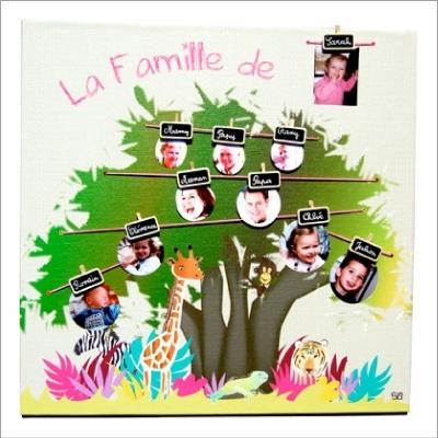 Tableau arbre g n alogique jungle fille baby sphere lili pouce stickers appliques frises - Idee arbre genealogique original ...