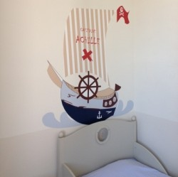 t te de lit bateau de pirate rouge voile blanche et beige lili pouce boutique d co chambre. Black Bedroom Furniture Sets. Home Design Ideas