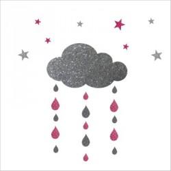 stickers_nuages__gouttes_et_etoiles_argent_et_rose_personnalisable_1