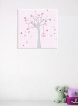 tableau_personnalisable_arbre_à_coeurs_lavande_rose_1