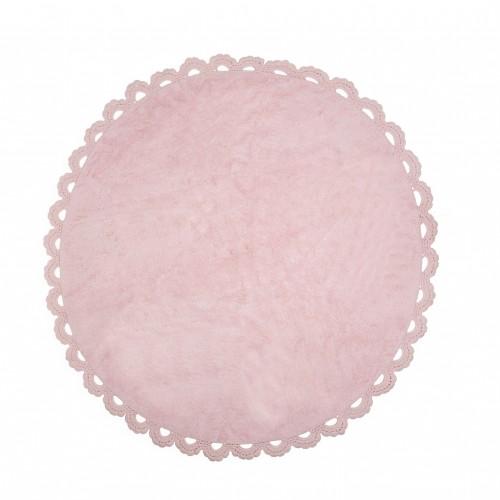 Tapis enfant coton rond cocooning rose