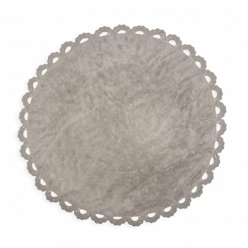 Tapis enfant coton rond cocooning gris