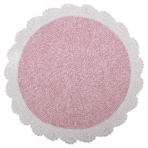 Tapis rond coton lavable Matilda rose de Nattiot