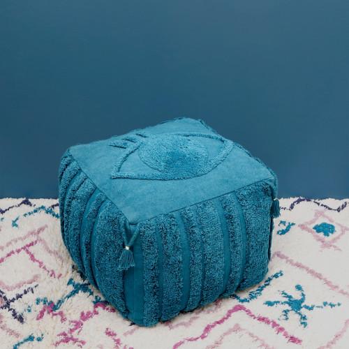 Pouf oeil Siva bleu saphir de Nattiot