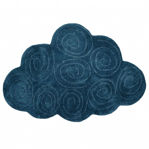 Tapis coton lavable nuage Boréal bleu de Nattiot