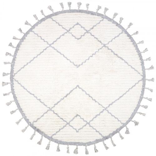 Tapis enfant coton rond lavable COME gris de Nattiot