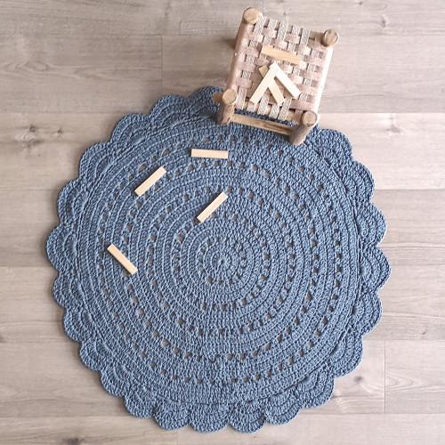 Tapis bébé coton rond lavable ALMA Bleu gris de Nattiot