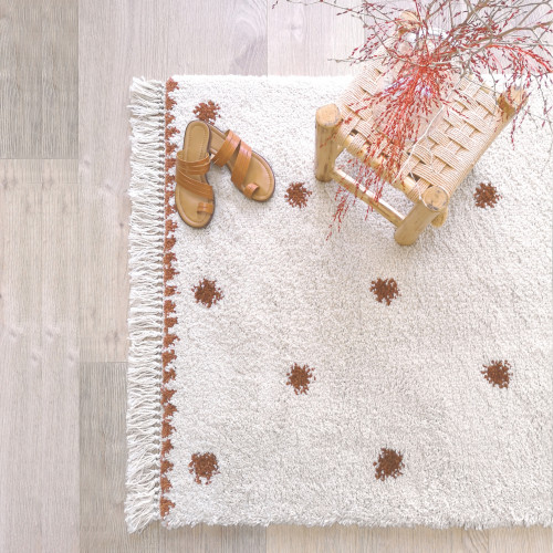 Tapis enfant rectangulaire pois WOOLY naturel/brique de Nattiot