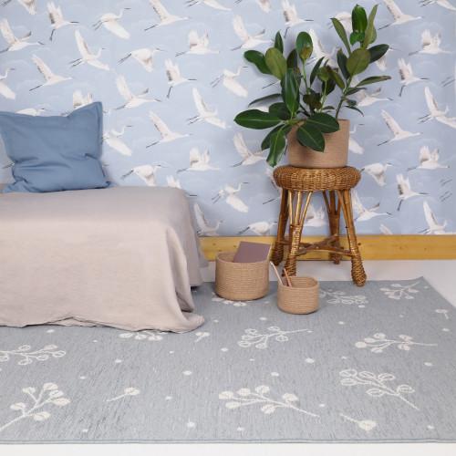 Tapis enfant motif végétal LITTLE NATURE bleu gris