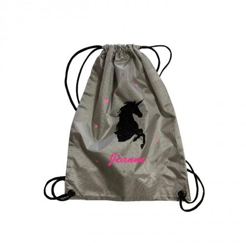 sac à dos licorne noire pailletée personnalisable