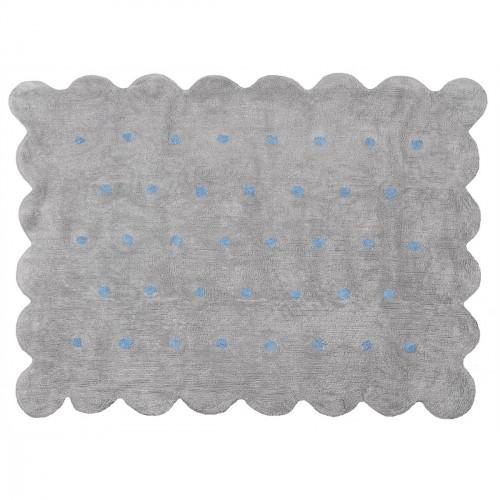 Tapis Biscuit gris à pois bleus