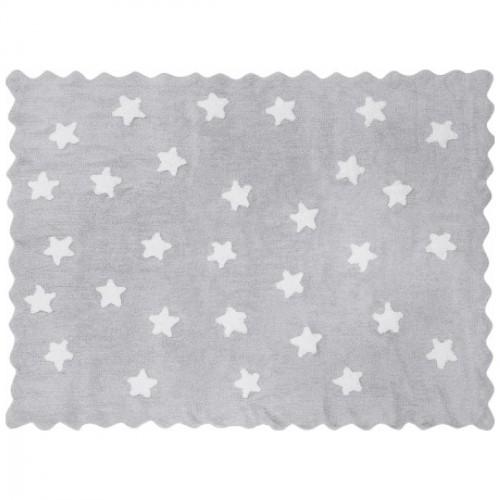 Tapis enfant coton étoiles Eden gris