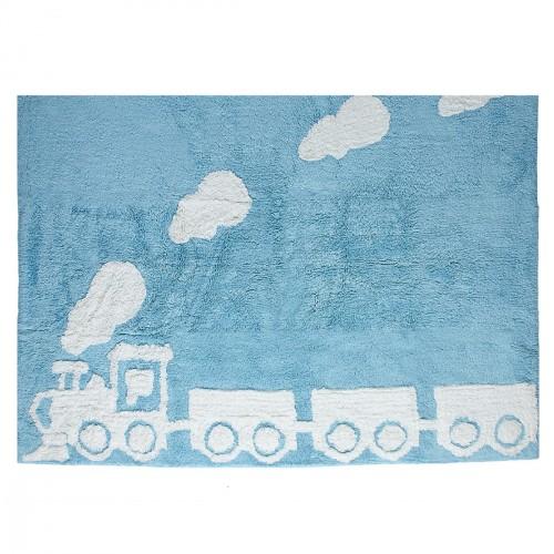 Tapis train bleu
