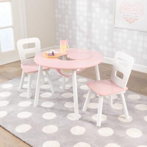 Ensemble table ronde avec rangement et 2 chaises - Rose/Blanc