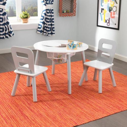 Ensemble table ronde avec rangement et 2 chaises - Gris/Blanc