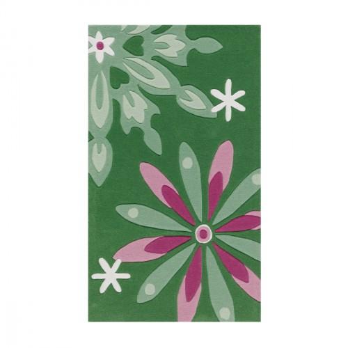 Tapis fleurs rose et vert