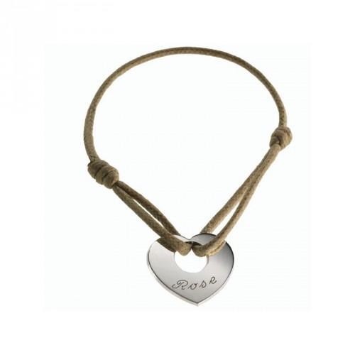 Bracelet A coeur de Peau- argent