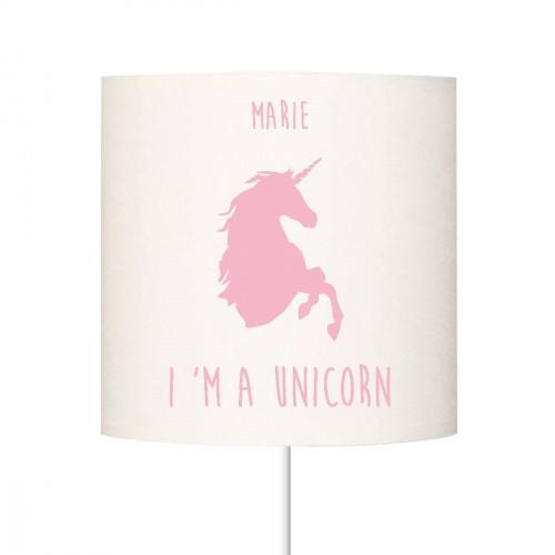 Abat jour I'm a unicorn rose pale personnalisable