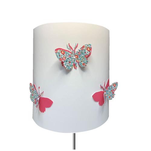 Abat jour papillon 3D Eloise rose soutenu