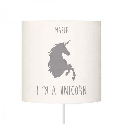 Abat jour I'm a unicorn gris personnalisable
