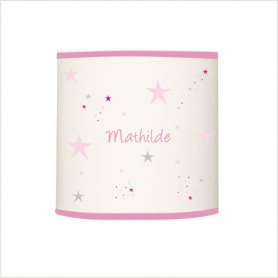 Abat jour étoiles magiques roses et grises cylindrique