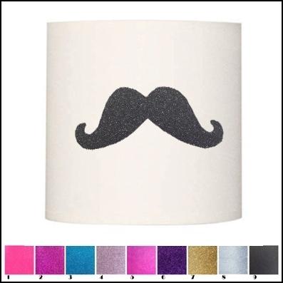 abat jour et suspension moustache pailletée personnalisable