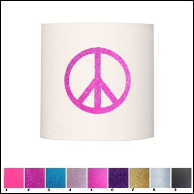 abat jour et suspension peace and love pailletée personnalisable