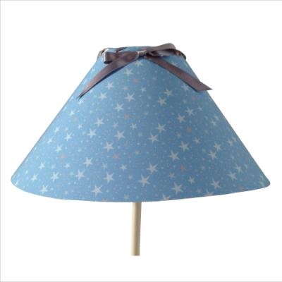 Abat jour Etoiles magiques bleu ciel et gris avec fond bleu conique