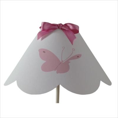 Abat jour festonné papillon rose