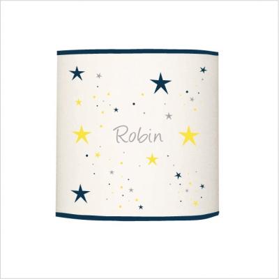 Abat jour ou suspension étoiles magiques bleu nuit et jaune cylindrique