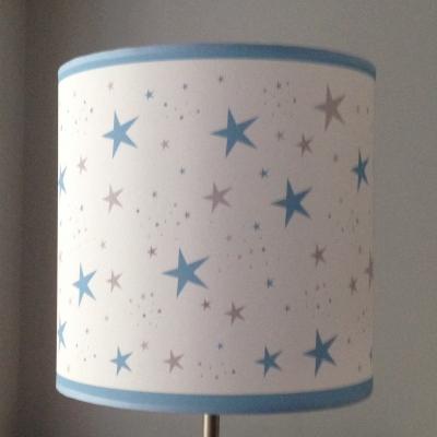 Abat jour ou suspension étoiles magiques turquoise et gris cylindrique