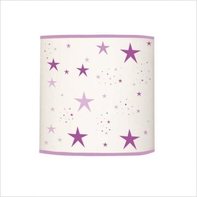 Abat jour ou suspension étoiles magiques violet et mauve cylindrique