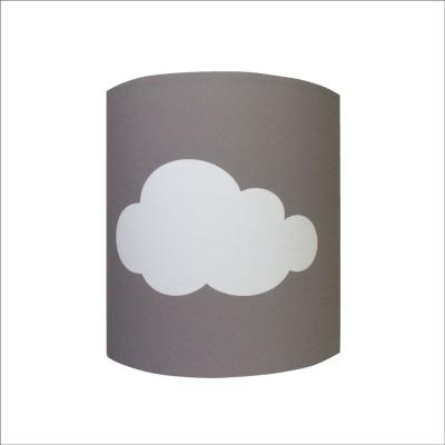 Abat jour ou Suspension  nuage blanc fond gris taupe personnalisable