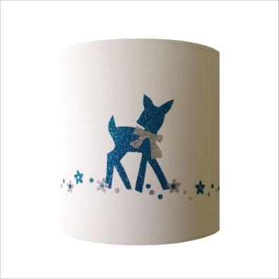 Abat jour ou Suspension bambi bleu pailletée personnalisable