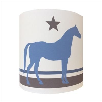 Abat jour ou Suspension cheval bleu fond blanc personnalisable