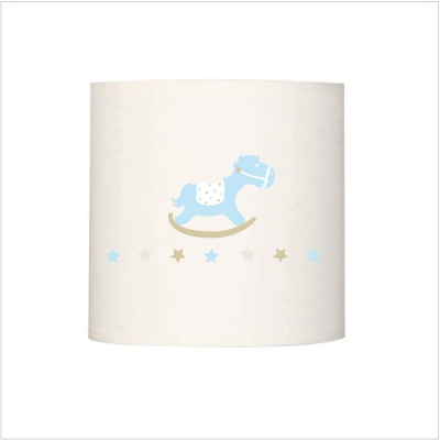 Abat jour ou suspension cheval de bois beige prénom bleu