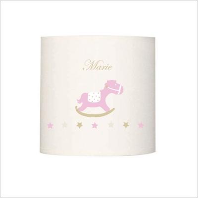 Abat jour ou suspension cheval de bois rose prénom beige