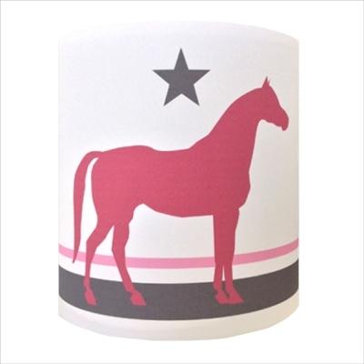 Abat jour ou Suspension cheval rose fond blanc personnalisable