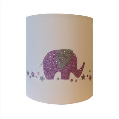 Abat jour ou Suspension elephant rose pale pailletée