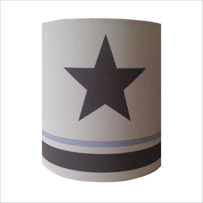 Abat jour ou Suspension etoile grise fond blanc rayé bleu ciel et gris personnalisable