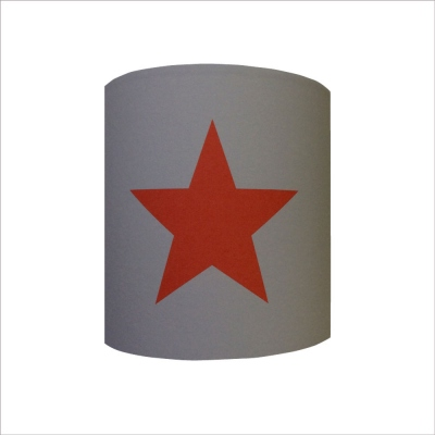 Abat jour ou Suspension etoile rouge fond gris  personnalisable