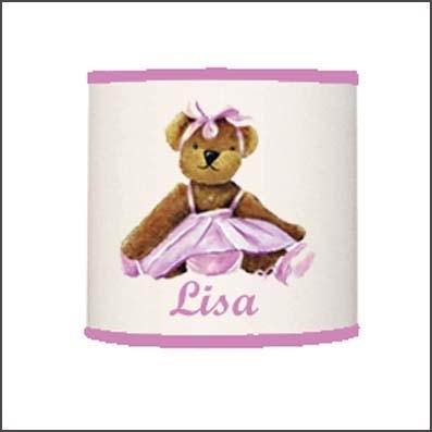 Abat jour ou suspension ours danseuse rose personnalisable
