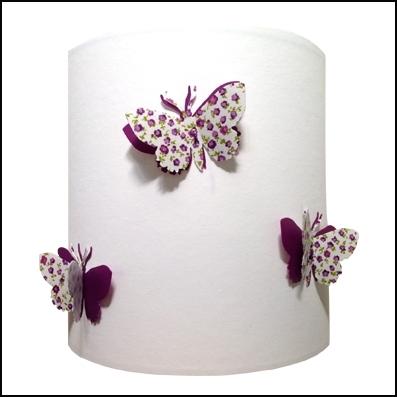 Abat jour ou Suspension papillons 3D liberty violet