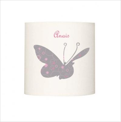 Abat jour papillon géant rose et gris