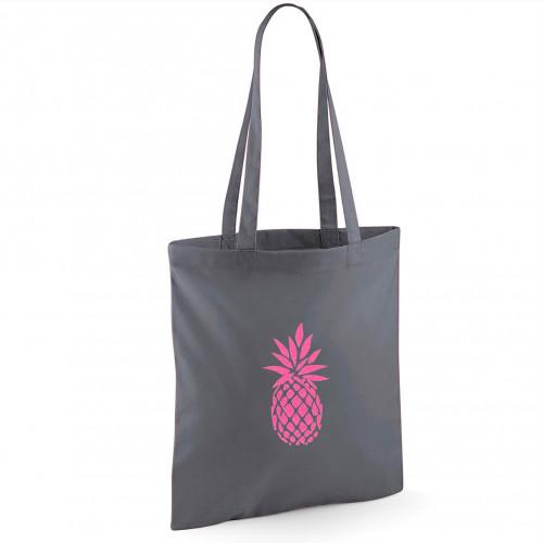 Tote bag gris foncé ananas rose fluo