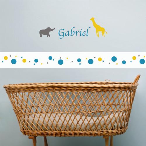Frise papier peint blanc motif bulles et étoiles gris bleu canard et jaune