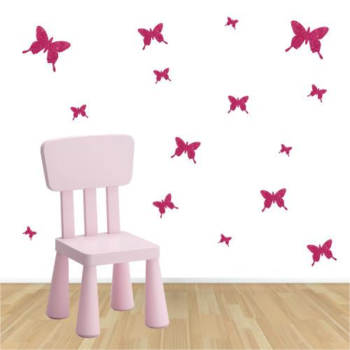 Stickers papillons pailleté rose